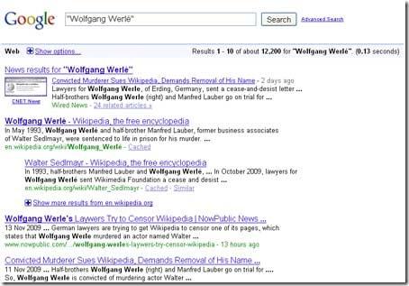 Hvad med de 12200 resultater i Google om Wolfgang Werlé?